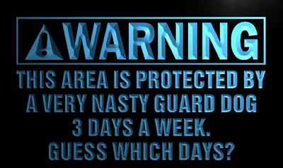 Warning - Very Nasty Guard Dog neon sign LED