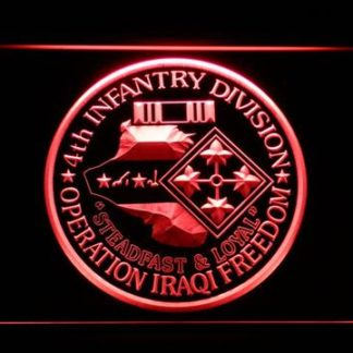 US Army 4th Infantry Division Operation Iraqi Freedom neon sign LED