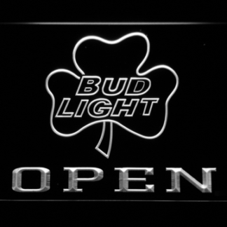 Bud Light Shamrock Open neon sign LED