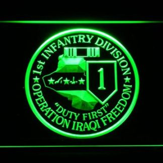 US Army 1st Infantry Division Operation Iraqi Freedom neon sign LED