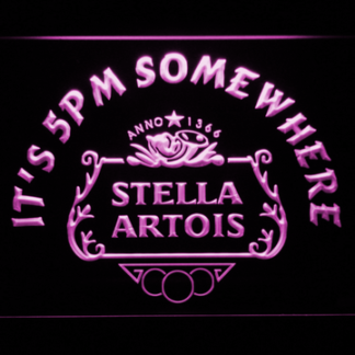 Stella Artois Crest It's 5pm Somewhere neon sign LED