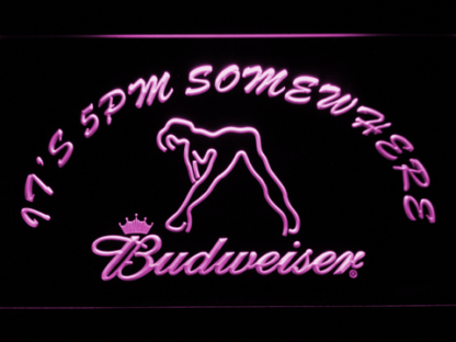 Budweiser Woman's Silhouette It's 5pm Somewhere neon sign LED