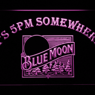 Blue Moon Old Logo It's 5pm Somewhere neon sign LED