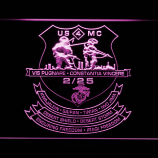 US Marine Corps 2nd Battalion 25th Marines neon sign LED