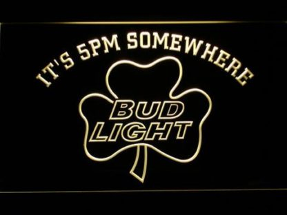 Bud Light Shamrock It's 5pm Somewhere neon sign LED