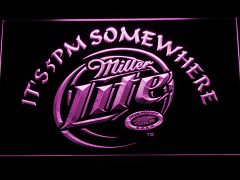 Miller Lite It's 5pm Somewhere neon sign LED