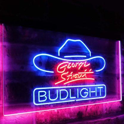 George Strait Bud Light Music Beer Bar Decor Dual Color Led Neon Sign neon sign LED