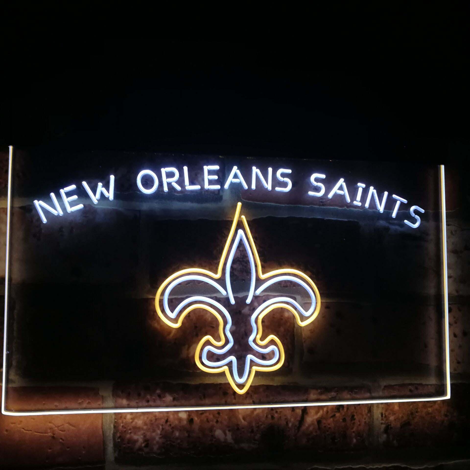 "New Orleans Saints Helmet Neon Light Sign 24/""x20/"" Lamp Poster Real Glass"