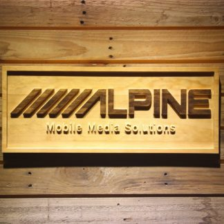 Alpine Mobile Media Solutions Wood Sign neon sign LED