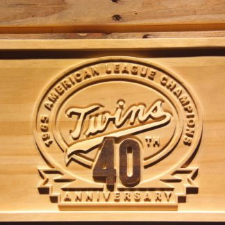 Minnesota Twins 1965 AL Championship 40th Anniversary Wood Sign - Legacy Edition neon sign LED