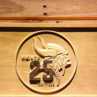 Minnesota Vikings 25th Anniversary Logo Wood Sign - Legacy Edition neon sign LED